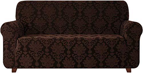 Fundas de sofá universales de 1 Pieza, Jacquard Damask Funda de sofá elástica Fundas de sillón Fundas de sillón 1 2 3 4 plazas Poliéster Spandex Estampado Floral (Chocolate, 3 plazas (185-235cm))