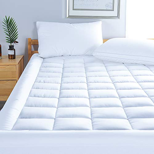 MINCOCO Queen Mattress Pad Cover Cotton Top Pillowtop Overfilled Cooling Topper with Snow Down Alternative Fill(8-21' Quilted Fitted Deep Pocket)