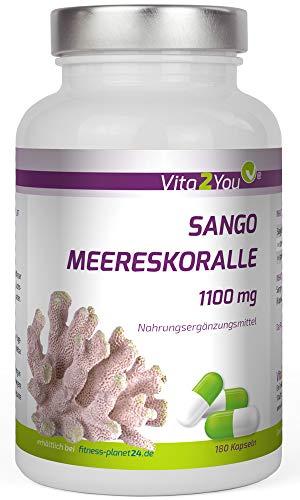 Sango Meereskoralle 1100mg - 180 Kapseln - Natürliches Calcium und Magnesium - Hochdosiert - Premium Qualität - Made in Germany