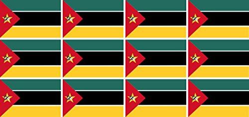 Mini Aufkleber Set - Pack glatt - 50x31mm - Sticker - Mosambik - Flagge - Banner - Standarte fürs Auto, Büro, zu Hause & die Schule - 12 Stück