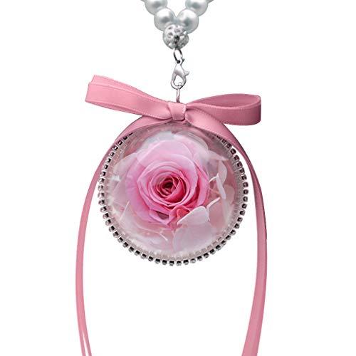 YO-HAPPY Ciondolo a Forma di Palla con Fiore di Rosa eterno Secco Naturale Portachiavi Borsa per Gioielli da Donna Ornamenti per Auto Regalo di Natale San Valentino