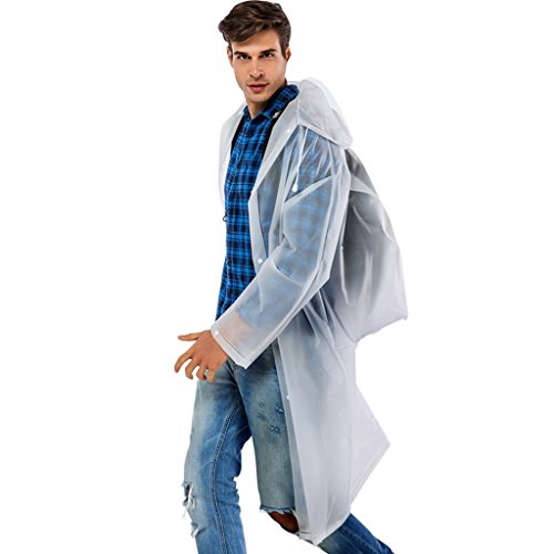 TLMYDD Poncho imperméable Adulte avec Housse et Manchon imperméable Transparent réutilisable et Portable Imperméable (Color : White, Size : L)