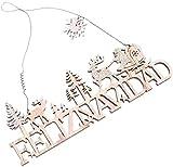 Wlnnes Adorno para festivos de Navidad Feliz Navidad Feliz Navidad Signo de madera Feliz Navidad Colgante Decoración de madera Madera Rústico Casa de campo Mantiene