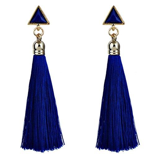 hunpta Bohemian Women Ethnic Hanging Rope Tassel Earrings (Blue)