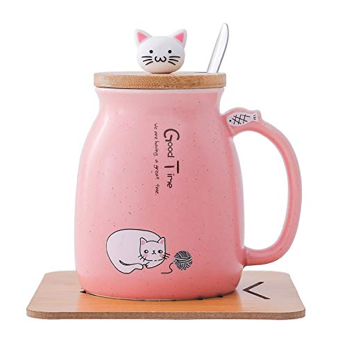 Breakfast Cat Mug Cute Ceramic Coffee Cup with Wooden Lid Stainless Steel Spoon Novelty Morning Tea Milk Cups Childrens 420ML Pink