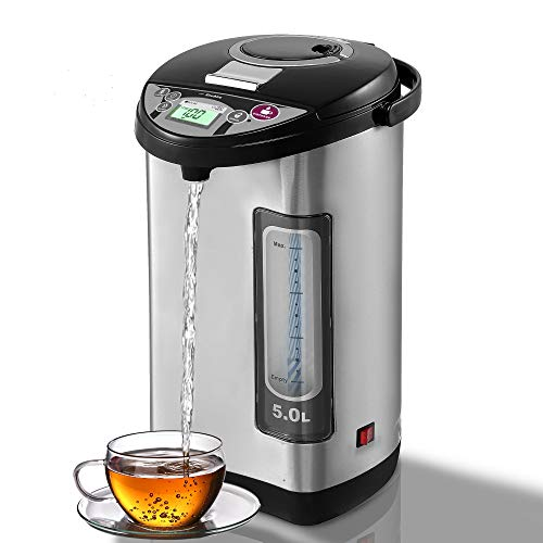 EAVAIRE Electric Hot Water Urn Thermo-pot Boiler & Warmer, Tea & Coffee kettle, 5.2 QT Food Grade 304 Stainless Steel Insulated Inner-pot, Fahrenheit Temperature LCD Display, 5 Stage Keep Warm Temperature Selection, 3 Way Dispense Modes, Electric Pump, Manual Pump,One Hand Cup Touch Dispenser, Child Safety Lock, Dry Boil Protection, Energy Saving, ETL Listed