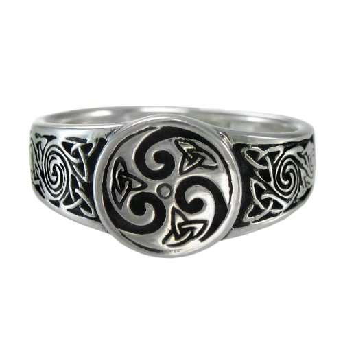 Moonlight Mysteries Celtic Knot Spiral Ring Triquetra Ring for Men or Women (Available 4-15) sz 9