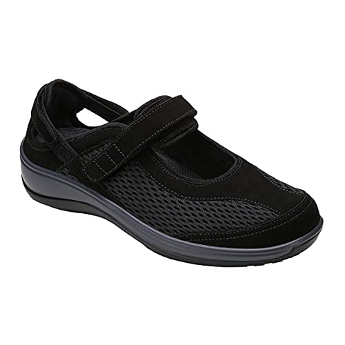 Orthofeet Proven Heel and Foot Pain Relief. Extended Widths. Best Orthopedic Bunions Diabetic Women's Mary Jane Shoes Sanibel Black