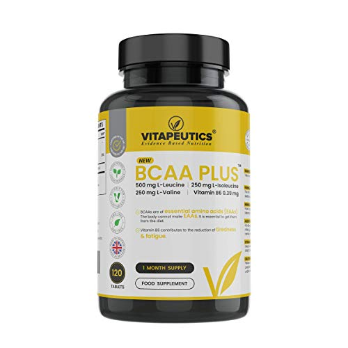 BCAA Plus New L-leucine, L-isoleucine, L-valine, Plus Vitamin B6-120 Tablets (1 Month Supply) - Made in The UK