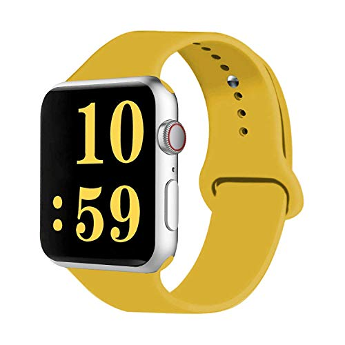 VATI Sport Band Compatible for Apple Watch Band 42mm 44mm, Soft Silicone Sport Strap Replacement Bands Compatible with 2019 Apple Watch Series 5, iWatch 4/3/2/1, 42MM 44MM M/L (Yellow)