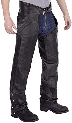 Viking Cycle Leather Chaps - Plain Motorcycle Leather Chaps (XL)