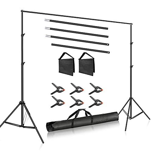 Neewer Studio Fotografico 10ft/3m Larga Barra Trasversale 6.6ft/2m Alto Sfondo Regolabile Staffa, Sistema di Supporto con 3 Morsetti di Sfondo, 2 Sacchi di Sabbia e Borsa per Fotografia