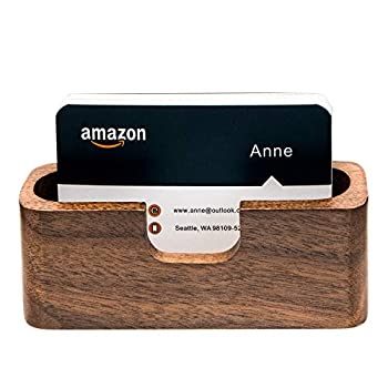 padike Business Card Holder Wood Business Card Holder for Desk Business Card Display Holder Desktop Business Card Stand for Office  Rectangle-1