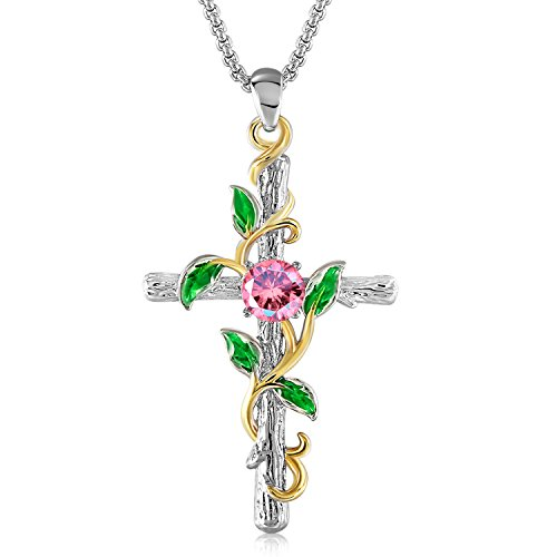 GEORGE · SMITH WhGEORGE · Smith 14K White Gold Plated Cross Necklace for Women-Dainty Rose Flower Crucifix Pendant Necklace Birthday Jewelry Gifts, 18-20 Inches Link Chain