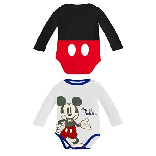 Body Traje Bebé Niño Mickey Mouse Disney | Pack Regalo 2 Piezas | 100% Algodón Suave | 3-6-9-12 Meses (6 Meses)