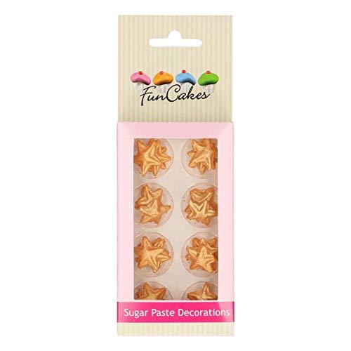 FunCakes Decoraciones de Azúcar Estrellas Doradas Listo Para ser Usar en la Decoración de Tartas, Perfecto para Cupcakes Temáticas y más, Certificado Sin Gluten, Set/24