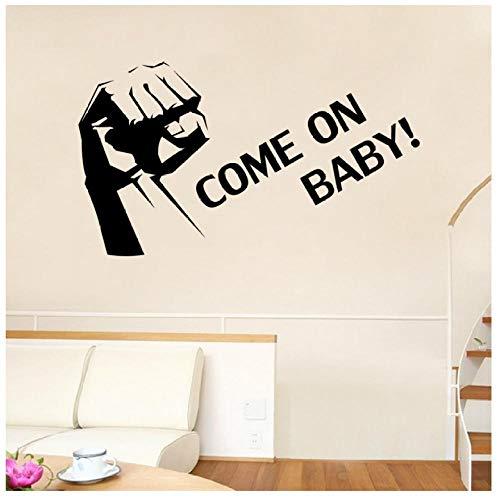 XXSCZ Grote Vuist Kom op Baby Lettering Patroon Verwijderbare Muurstickers voor Kwekerij Kids Kamer Woonkamer Vinyl Art Decor 57X100cm