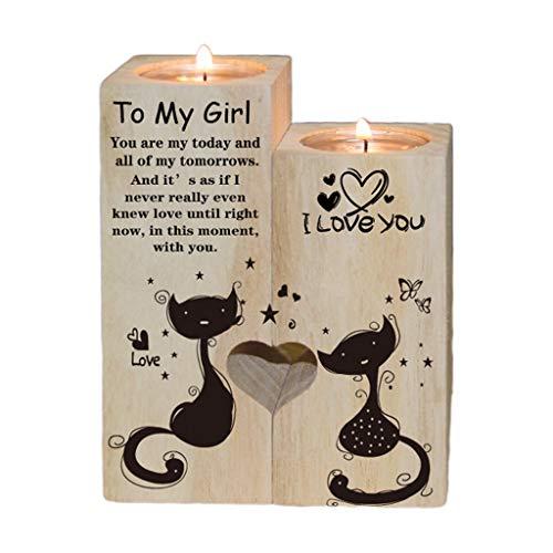 VVXXMO Candelabro de escritorio de madera en forma de corazón, adornos de vela sólida, estante para manualidades, soporte para velas de pareja, soporte para aniversario