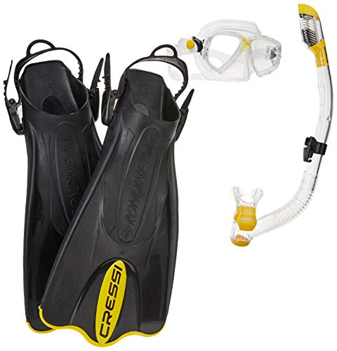 Cressi Palau Mask Fin Snorkel Set with Snorkeling Gear Bag, Yellow, S/M | (Men's 4-7) (Women's 5-8)