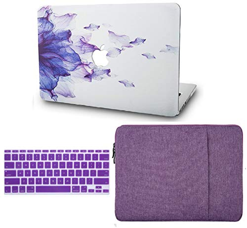 KECC Laptop Case for MacBook Air 13' Retina (2020/2019/2018, Touch ID) w/Keyboard Cover + Sleeve Plastic Hard Shell Case A1932 3 in 1 Bundle (Purple Flower)
