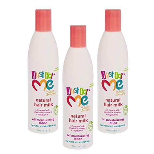 Just for Me Natural Hair Milk Lotion (3 Pack) - Hydrates & Strengthens, Contains Coconut Milk, Shea Butter, Vitamin E, Sunflower Oil, Lightweight Moisture, Reduces Frizz, 10 oz