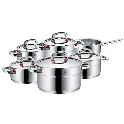 WMF Pot Set 6-Piece Premium One Inside Scale Steam Vent Made in Germany Cool+ Technology Metal Lid Cromargan Stainless Steel Polished Suitable for Induction Hobs Dishwasher-Safe