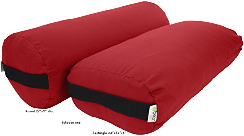 Bean Products Yoga Bolster - Cotton Rectangle - Red