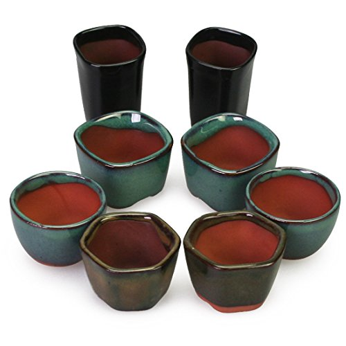 Happy Bonsai 8 Mini Glazed Pots 1.4 Inch
