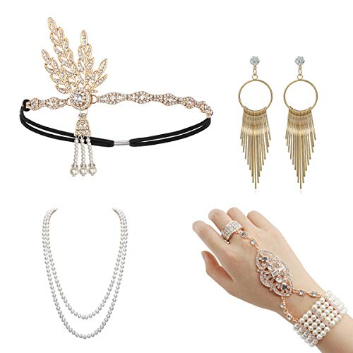 1920 Accessories Headband - 1920 Accessories Set 1920 Headband Bracelet Ring Pearl Necklace Earring For Women Flapper Costume Theme Party(Set4-Rose Gold)(Size: One size)