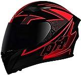 Casco De Moto Con Doble Visera, Certificación ECE Adultos Modular Integral Casco Moto Para Ciclomotor Motocicleta Y Scooter Mujer Hombre Verde Rojo Negro 1, L=(59~60CM)