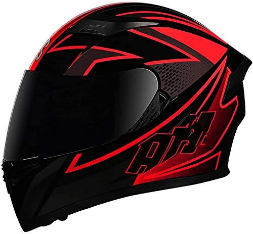 Casco De Moto Con Doble Visera, Certificación ECE Adultos Modular Integral Casco Moto Para Ciclomotor Motocicleta Y Scooter Mujer Hombre Verde Rojo Negro 1,M=(57~58CM)