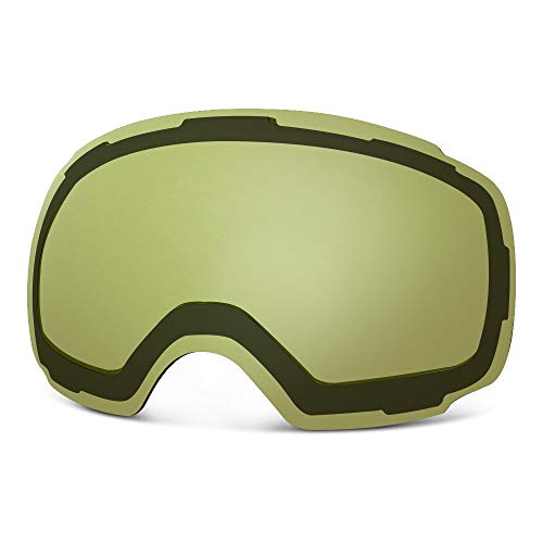 OutdoorMaster Ski Goggles PRO Replacement Lens - 20+ Different Colors ( VLT 91% Yellow Lens with Free Carrying Pouch )