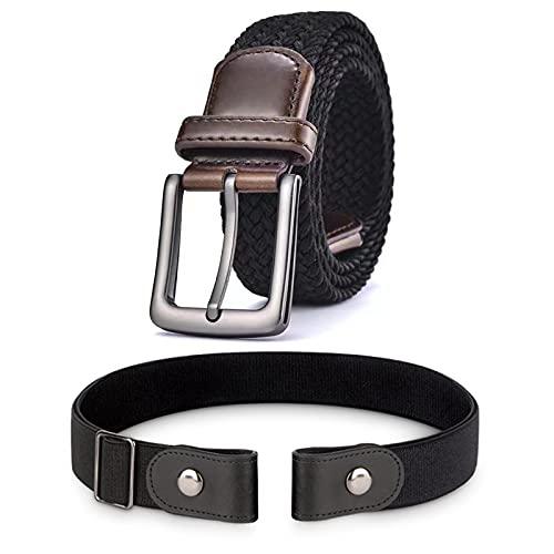 IGrugta Cintura Uomo Elastica-1 Cintura Senza Fibbia & 1 Cinture Intrecciata Unisex 110-130CM Cintura da Lavoro Cinta Casual Cinture Tattica Nera