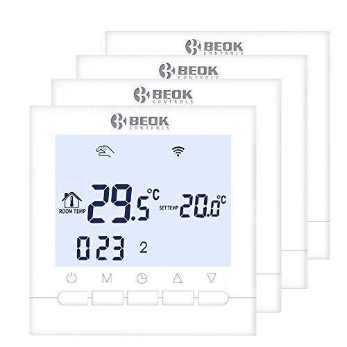 Beok BOT-313 Wifi Per Programmabile Caldaia A Gas Cablata Termostato, Con Schermo LCD, Controllo Remoto Online Tramite Smartphone, AC220V 3A, Bianco, 220.00 voltV,Necessità Di Alimentazione Elettrica