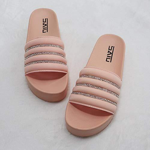 HUSHUI Bañarse Sandalias Zapatillas para Mujer,Aumente Las Sandalias de Plataforma, Sandalias de Interior y Exterior-Pink_41,Zapatos de Playa y Piscina para