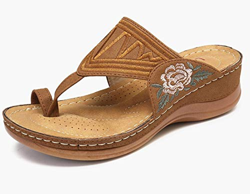 ALLIS Stickerei Offene Zehe Ring Sandalen Hausschuhe, Casual Wedge Flip Flops Plattform Schuhe Mode Blume Stickerei Wedges Sandalen (Brown, 36)