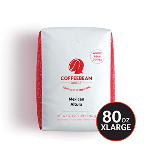 Coffee Bean Direct Mexican Altura, Whole Bean Coffee, 5-Pound Bag
