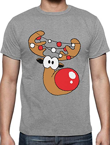 Lustiges Geschenk Rudolph Lichterkette T-Shirt XXXXX-Large Grau