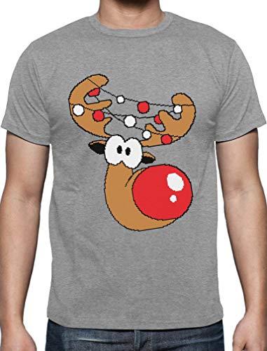 Lustiges Geschenk Rudolph Lichterkette T-Shirt Large Grau