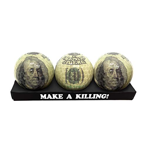 Funny Golf Balls Franklin Ball,Golf Ball Gift Pack Set,3Pack Money Ball Hundred Dollar Benjamin Franklin (Dollars)