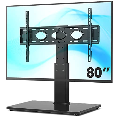 universal tvs TVON Universal Tabletop TV Stand Base with Swivel Mount for 50 to 80 inch Flat Screen TVs, 5-Level Height Adjustable, Tempered Glass Base, Holds up to 132 lbs, Black