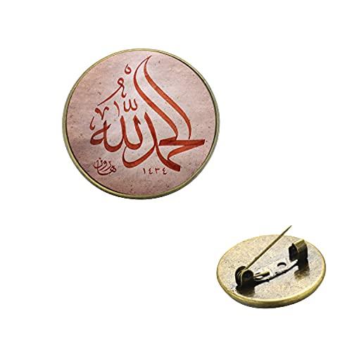 Broche musulmán árabe musulmán de Alá Islámico Cristal Gema Metal Lapel Pins Broche Muhammad Religioso Oriente Medio Joyería Ramadán Regalo