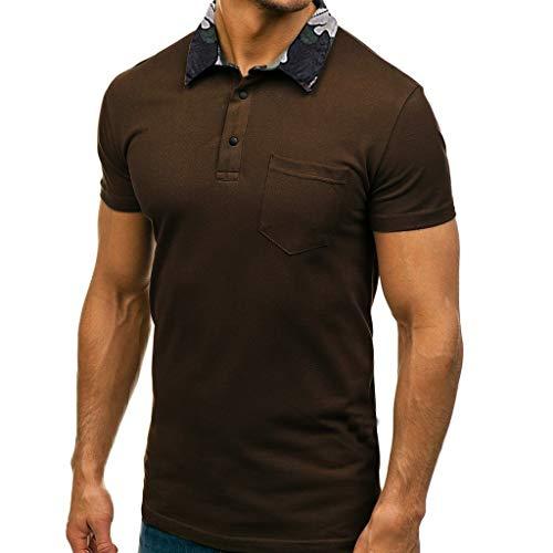 Polos Hombre Manga Corta, Camisas Basica Verano Cuello de Camuflaje Polo Solapa Slim Fit Camiseta Golf Tennis T-Shirt Trabajo Tops Men Shirt con Bolsillo(marrón,S)