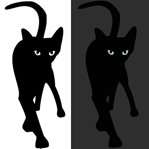 Wandtattoo Katze mit leuchtenden Augen bei Nacht - Tattoo Wohnzimmer