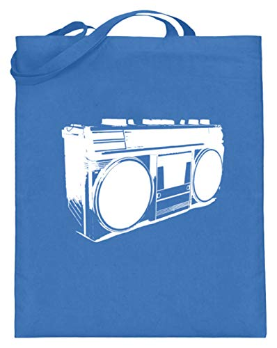Altavoz, música, amantes de la música, bajos, fiestas, discoteca. Diseño sencillo y divertido. Bolsa de yute (con asas largas), color Azul, talla 38cm-42cm