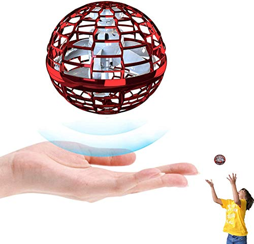 Mixbeek UFO Fly-Nova Pro Kugel, Flying Ball Toys Interaktive Drohnen Indoor Flyer with Endless Tricks Und 360° Drehbare Rotierende Und Blinkenden LED-Leuchten Für Jungen Und Mädchen,Rot