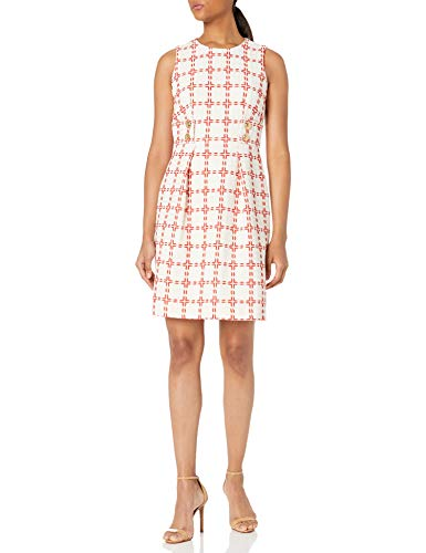 Anne Klein Women's Two Button Sleeveless Fit and Flare Dress, Anne White/Poppy, 14