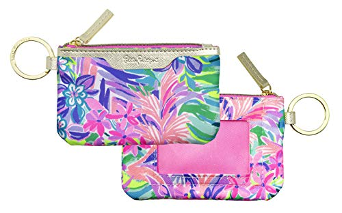 Lilly Pulitzer ID Case Keychain Wallet with Zip Close Cute Durable Card Holder for Women Teen Girls It Was All A Dream