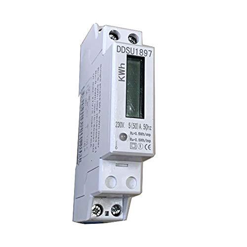 JVJ wechselstromzaehler hutschiene 1 phasig 5(50) A 230V LCD Digitaler Wechselstromzähler Stromzähler Wattmeter mit Leistungsanzeige