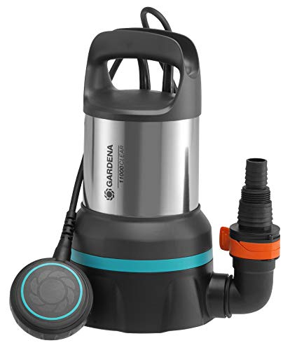 GARDENA Klarwasser-Tauchpumpe 11000: 450W Leistung, 11.000 l/h max. Fördermenge, 0,7 bar max. Druck, Flachabsaugung bis 2 mm, Antriebswelle mit Keramikbeschichtung, mit Schwimmerschalter (9032-20)